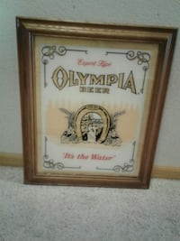 Vintage Painted Glass Olympia Beer Sign Foil Back