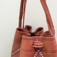 Handmade Boho Chic Natural Coloured Leather Bucket Bag Vancouver