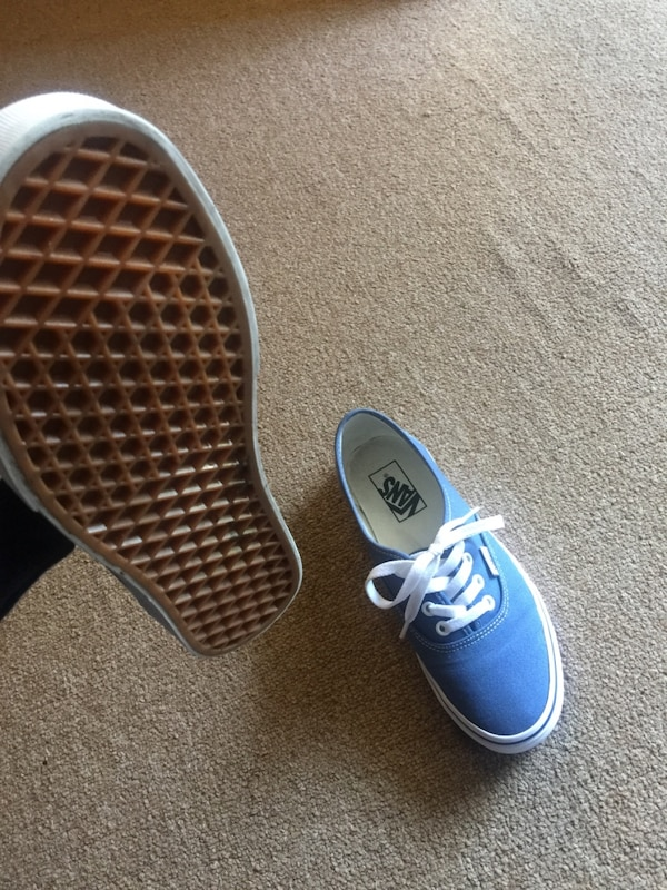 vans authentic navy blue on feet
