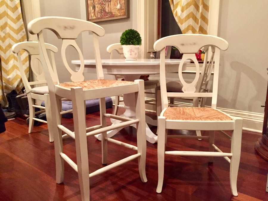 Used Pottery Barn, Napoleon Dining Chairs In Antique White ...