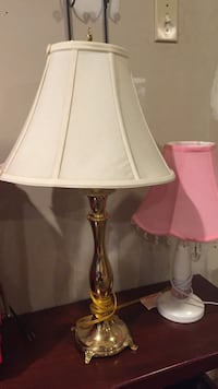 Used Brass Table Lamp Base With White Pagoda Lampshade For Sale In
