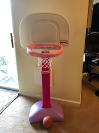 pink and white Little Tikes portable basketball system Sterling, 20165