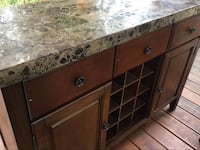 Dark wood buffet with stone top HEAVY; 12 section wine rack, 3 drawer and 2 cabinet   Falls Church, 22042