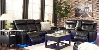 Sofa + Loveseat Black With Console and Led