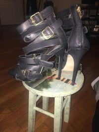 Pair of black leather open toe ankle strap heels Norristown, 19401