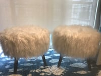Two small vanity stools or end of bed stools-winter white/ivory-faux fur Rockville, 20852