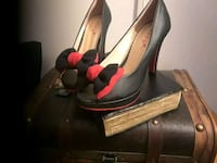 black and red leather peep toe ankle strap heels Chicago, 60640