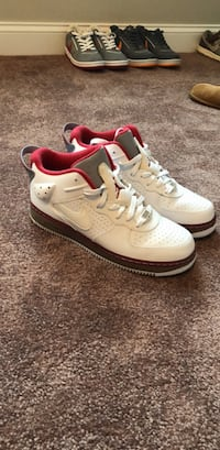 pair of white-and-red Nike sneakers Revere, 02151
