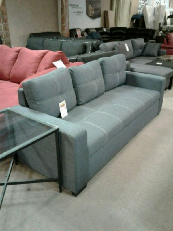 Terrific Blue Grey Fabric Convertible Sofa Bed Home Interior And Landscaping Transignezvosmurscom
