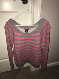 pink and gray striped scoop-neck sweater