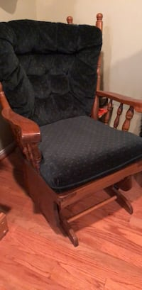 brown wooden frame black padded glider chair Springfield, 22152