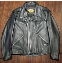 Harley Davidson black leather full-zip jacket
