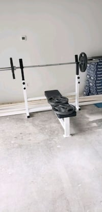 Olympic bar bench and weights obo Alexandria, 22304
