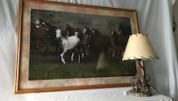 Horse lamp and photo in oak frame South Whitehall, 18104