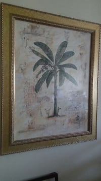 gold wooden frame coconut tree painting Ashburn, 20148