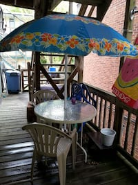 Used Glass Patio Table With Umbrella And 2 Chairs For Sale