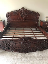 King size solid wood & 2 night stand and armor beautiful details/ the price is negotiable Keego Harbor, 48320
