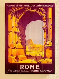 Rome train and travel art / wall hanging / decor on Wood Panels
