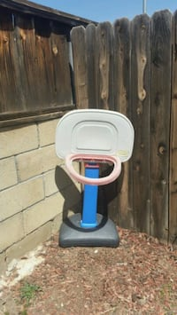 white, blue, and gray Little Tikes basketball hoop Simi Valley, 93063