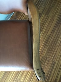 Antique Solid Wood Chair, Italian Leather & Matchi Vancouver