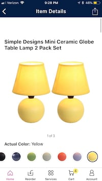 Set of yellow table lamps  Simpsonville, 29681