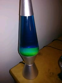 green and blue lava lamp