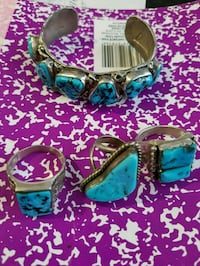 Blue turquoise sterling silver bracelet and three