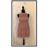 Lily Rose Chiffon Rose Dress..Blush Pink and Roses..Size Small