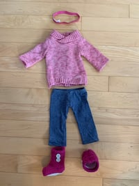 American Girl Doll Cozy Outfit with Boots and Box