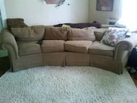 brown fabric sectional sofa with throw pillows Glens Falls
