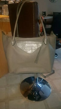 gray leather tote bag Red Deer, T4R 0E6