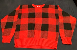 Tommy Hilfiger Red & Black Men's Sweater - size M