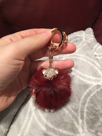 red and gold-color Pom Pom Keychain Laval, H7P 4G3