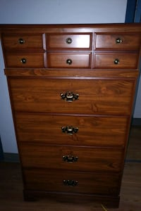 brown wooden 5-drawer tallboy dresser London, N6G 1G9