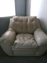 Comfy light cream pleather comfortable wide chair