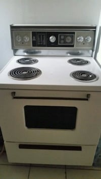 white and black electric coil range oven Toronto, M6S 3N8