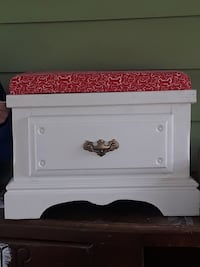 white wooden 1-drawer ottoman with red pad