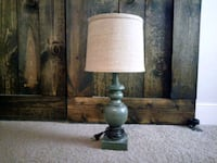 teal wooden base burlap shade table lamp Chester, 23831
