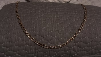 Gold figaro chain necklace 10k trades welcome
