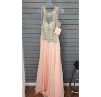 Peach-colored and silver embroider illusion sleeveless gown Barrie