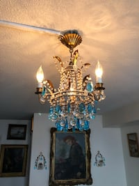 Antique French tole chandelier with two wall sconces  Toronto, M2R 3N1