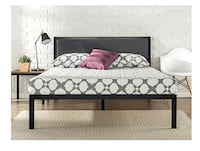 """New In Box Zinus 14"""" Platform Metal Bed Frame with Upholstered Headboard, Mattress Foundation, Full, Retails $140 247 mi"""