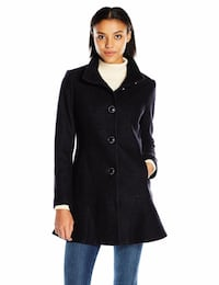 NEW Kensie Women's L9401 Wool-Blend Skirted Coat Large Toronto