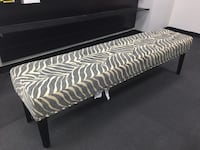 Grey and white zebra print fabric padded bench 22 mi
