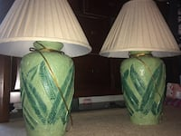 two green and white table lamps Huntingdon, 38344