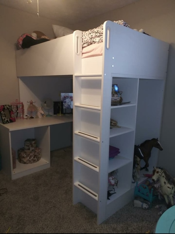 Sold Ikea Stuva White Loft Bed Combo W 2 Shlvs 3 Shlvs Twin In