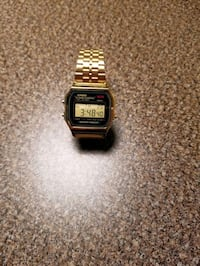 Casio womens digital vintage gold-tone stainless bracelet watch