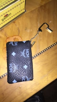 monogrammed black MCM leather pouch