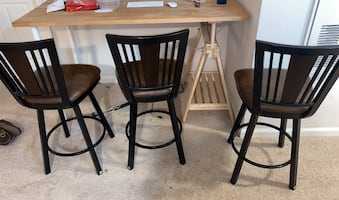Three Matching Leather and Metal Bar Stools
