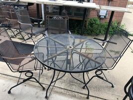 Patio table and rocking chairs